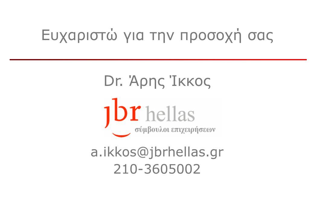 Ευχαριστώ για την προσοχή σας Dr. Άρης Ίκκος a.ikkos@jbrhellas.gr 210-3605002
