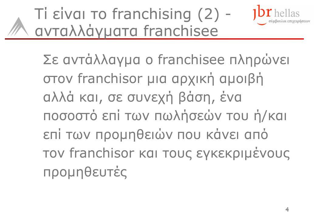 4 Τί είναι το franchising (2) - ανταλλάγματα franchisee Σε αντάλλαγμα ο franchisee πληρώνει στον franchisor μια αρχική αμοιβή αλλά και, σε συνεχή βάση, ένα ποσοστό επί των πωλήσεών του ή/και επί των προμηθειών που κάνει από τον franchisor και τους εγκεκριμένους προμηθευτές