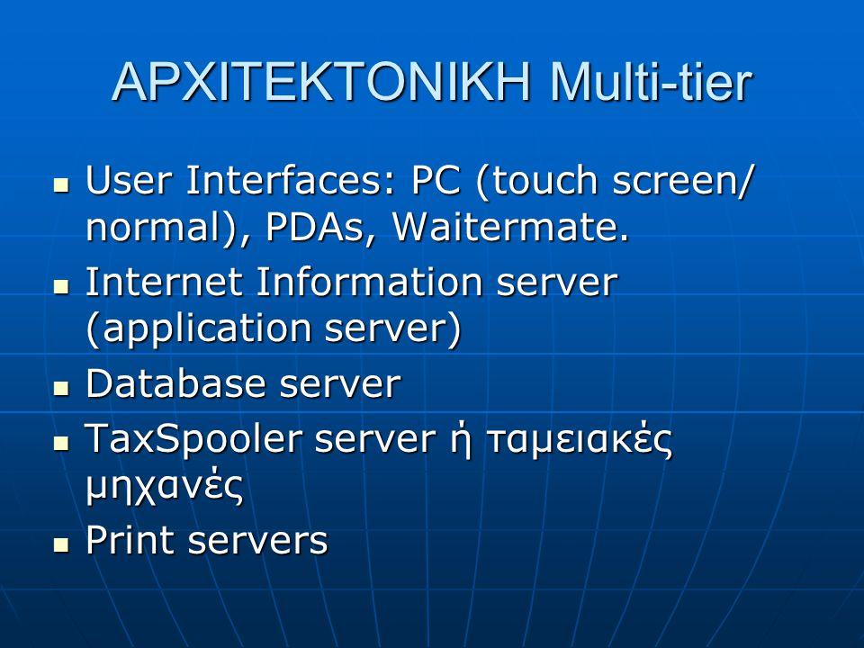 ΑΡΧΙΤΕΚΤΟΝΙΚΗ Multi-tier  User Interfaces: PC (touch screen/ normal), PDAs, Waitermate.  Internet Information server (application server)  Database