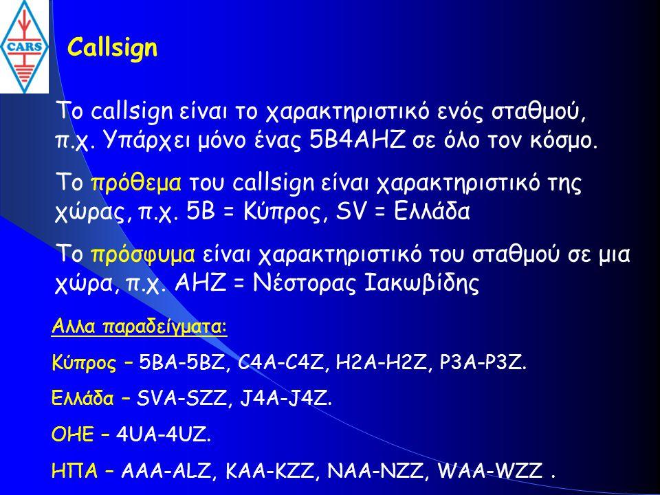 Callsign Το callsign είναι το χαρακτηριστικό ενός σταθμού, π.χ. Υπάρχει μόνο ένας 5B4AHZ σε όλο τον κόσμο. Το πρόθεμα του callsign είναι χαρακτηριστικ