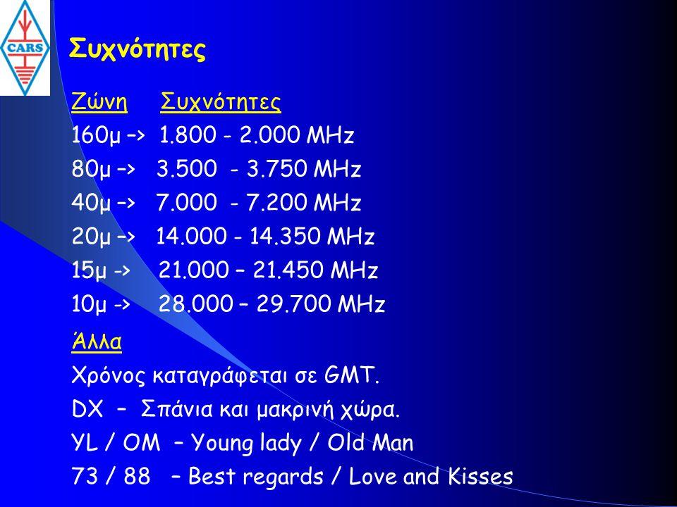Συχνότητες Ζώνη Συχνότητες 160μ –> 1.800 - 2.000 MHz 80μ –> 3.500 - 3.750 MHz 40μ –> 7.000 - 7.200 MHz 20μ –> 14.000 - 14.350 MHz 15μ -> 21.000 – 21.4