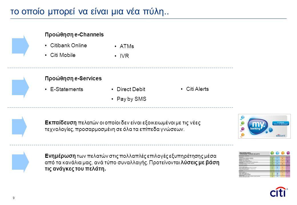 10 •iPad για να μπορούν οι πελάτες να μπαίνουν εύκολα και γρήγορα στο Internet •Κατάλληλα για συναλλαγές και εγγραφή στο CBOL •iPhone για να μπορούν οι πελάτες να χρησιμοποιούν το Citi Mobile.