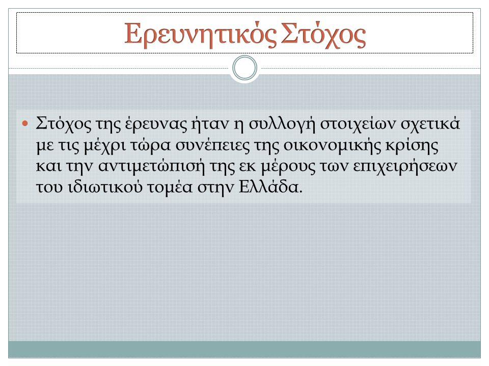  Στόχος της έρευνας ήταν η συλλογή στοιχείων σχετικά με τις μέχρι τώρα συνέπειες της οικονομικής κρίσης και την αντιμετώπισή της εκ μέρους των επιχειρήσεων του ιδιωτικού τομέα στην Ελλάδα.