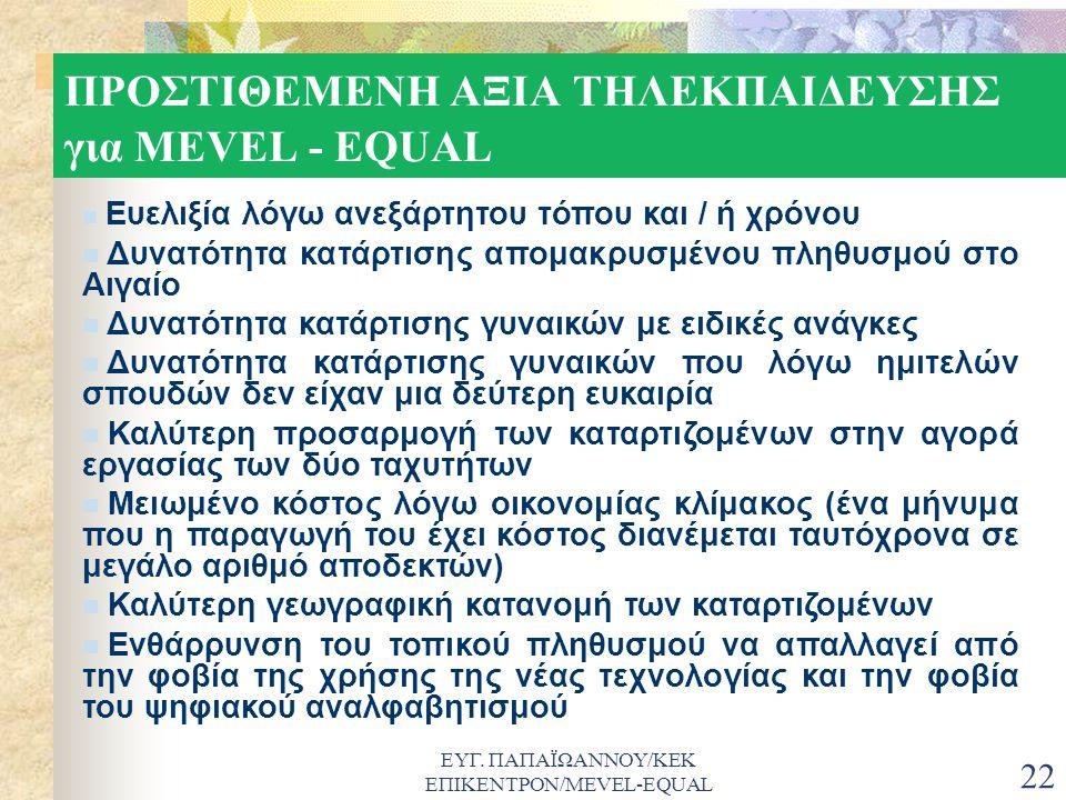 ΕΥΓ. ΠΑΠΑΪΩΑΝΝΟΥ/ΚΕΚ ΕΠΙΚΕΝΤΡΟΝ/MEVEL-EQUAL 22 ΠΡΟΣΤΙΘΕΜΕΝΗ ΑΞΙΑ ΤΗΛΕΚΠΑΙΔΕΥΣΗΣ για MEVEL - EQUAL  Ευελιξία λόγω ανεξάρτητου τόπου και / ή χρόνου  Δ