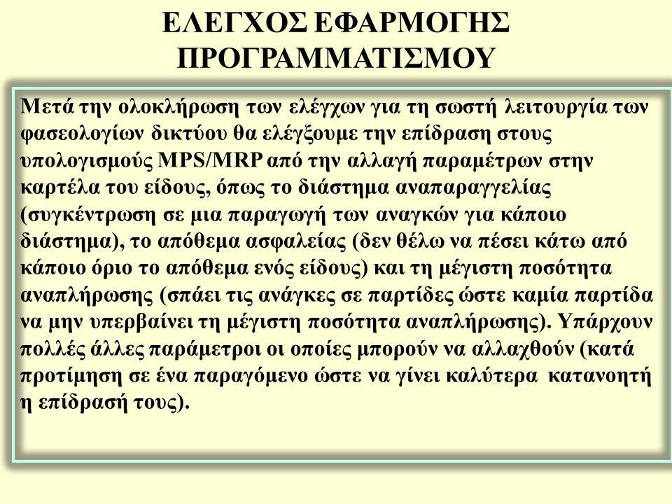 Μέχρι τη λειτουργία Φύλλα Προγραμματισμού το σύστημα απλά προτείνει MPS/MRP το οποίο όμως δεν ενημερώνει τα υποσυστήματα Αγορών ή Εκτέλεσης Παραγωγής.