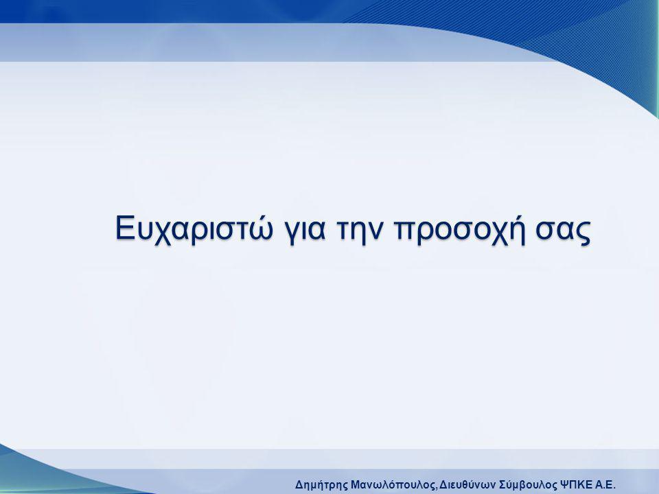 Δημήτρης Μανωλόπουλος, Διευθύνων Σύμβουλος ΨΠΚΕ A.E. Ευχαριστώ για την προσοχή σας