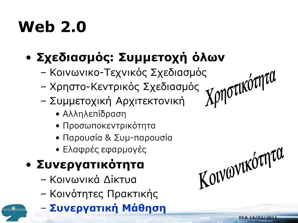 KEA 14/02/2011 Web 2.0 •Σχεδιασμός: Συμμετοχή όλων –Κοινωνικο-Τεχνικός Σχεδιασμός –Χρηστο-Κεντρικός Σχεδιασμός –Συμμετοχική Αρχιτεκτονική •Αλληλεπίδραση •Προσωποκεντρικότητα •Παρουσία & Συμ-παρουσία •Ελαφρές εφαρμογές •Συνεργατικότητα –Κοινωνικά Δίκτυα –Κοινότητες Πρακτικής –Συνεργατική Μάθηση