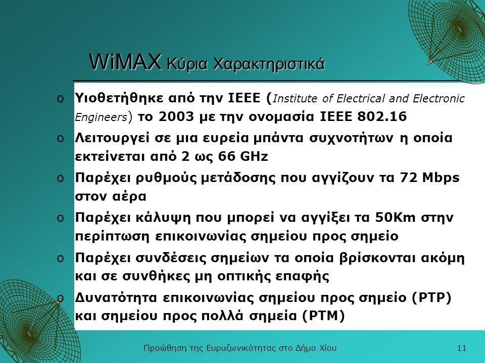 Προώθηση της Ευρυζωνικότητας στο Δήμο Χίου11 WiMAX Κύρια Χαρακτηριστικά oΥιοθετήθηκε από την ΙΕΕΕ ( Institute of Electrical and Electronic Engineers )