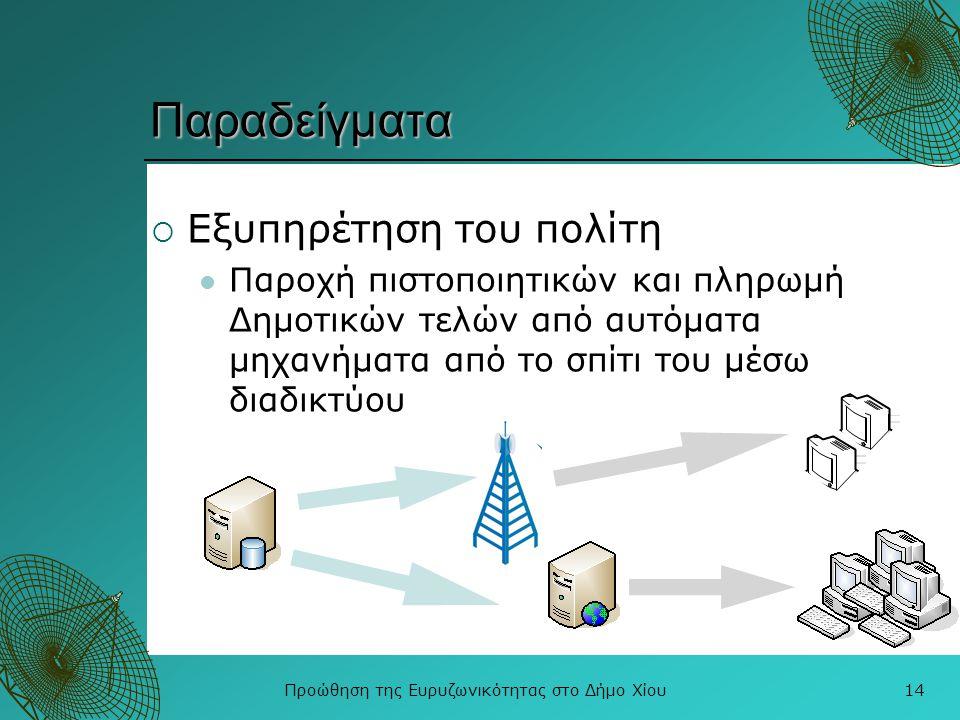 Προώθηση της Ευρυζωνικότητας στο Δήμο Χίου14 Παραδείγματα  Εξυπηρέτηση του πολίτη  Παροχή πιστοποιητικών και πληρωμή Δημοτικών τελών από αυτόματα μη