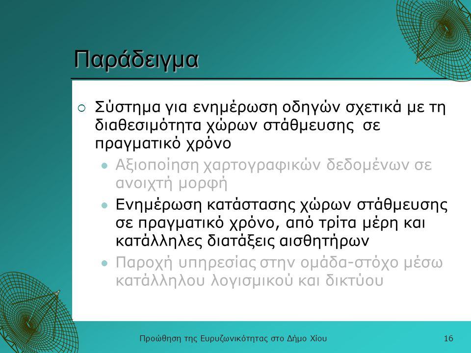 Προώθηση της Ευρυζωνικότητας στο Δήμο Χίου16 Παράδειγμα  Σύστημα για ενημέρωση οδηγών σχετικά με τη διαθεσιμότητα χώρων στάθμευσης σε πραγματικό χρόν