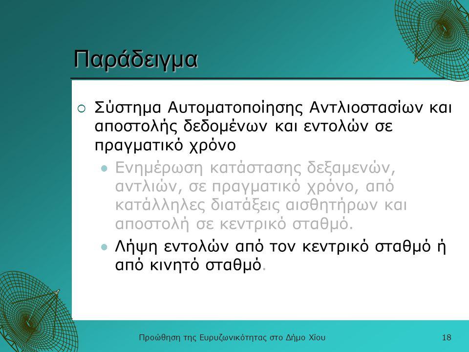 Προώθηση της Ευρυζωνικότητας στο Δήμο Χίου18 Παράδειγμα  Σύστημα Αυτοματοποίησης Αντλιοστασίων και αποστολής δεδομένων και εντολών σε πραγματικό χρόν