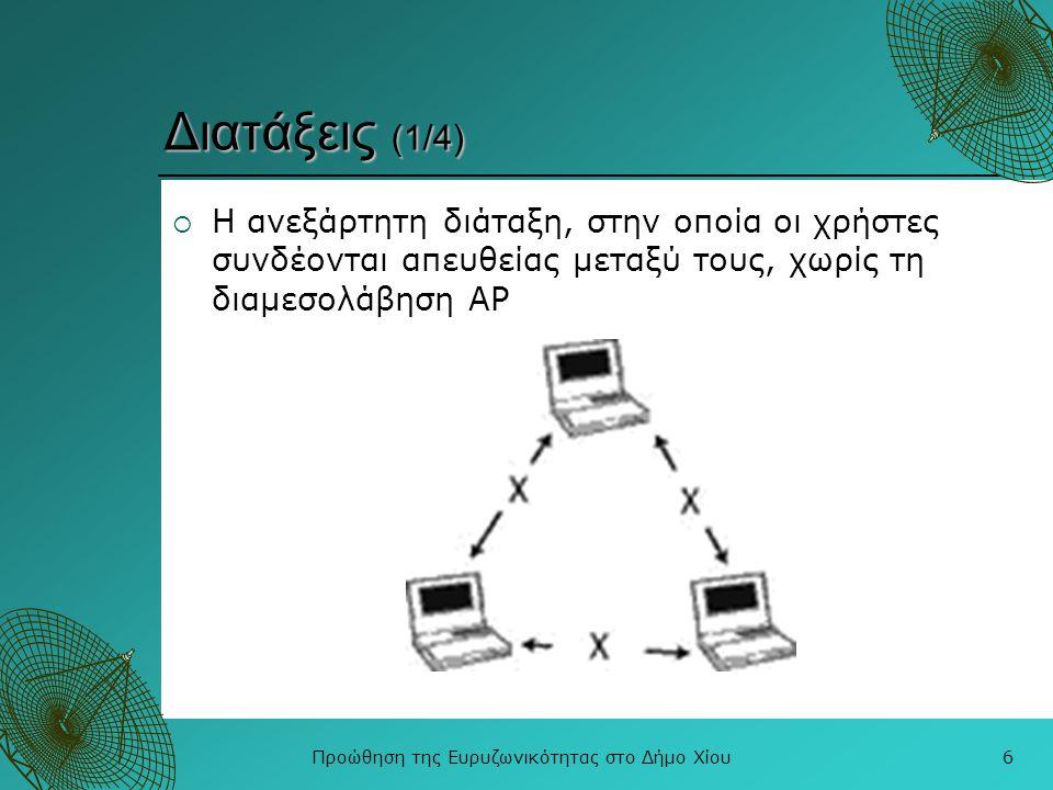 Προώθηση της Ευρυζωνικότητας στο Δήμο Χίου6 Διατάξεις (1/4)  Η ανεξάρτητη διάταξη, στην οποία οι χρήστες συνδέονται απευθείας μεταξύ τους, χωρίς τη δ