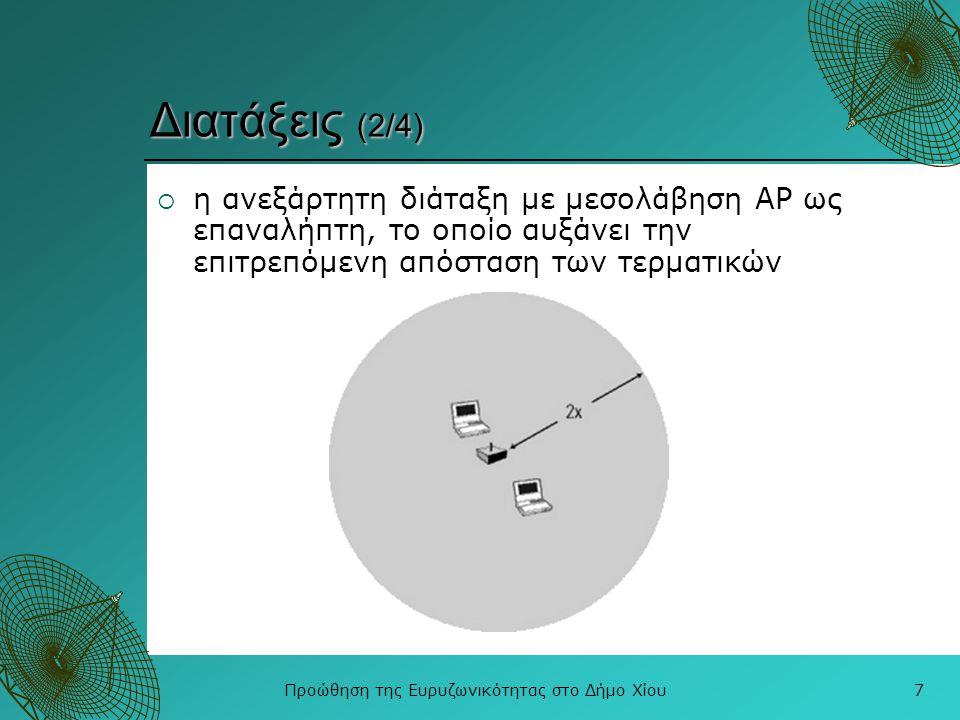 Προώθηση της Ευρυζωνικότητας στο Δήμο Χίου8 Διατάξεις (3/4)  WLAN με σταθερή υποδομή όπου πολλαπλά APs συνδέονται με το σταθερό δίκτυο, αυξάνοντας την κάλυψη και την χωρητικότητα του δικτύου πρόσβασης