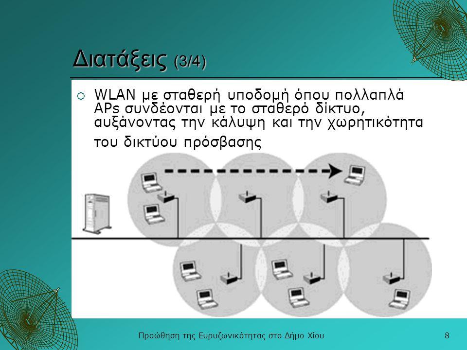 Προώθηση της Ευρυζωνικότητας στο Δήμο Χίου9 Διατάξεις (4/4)  κυψελωτό WLAN όπου οι κυψέλες κάλυψης των APs επικαλύπτονται, παρέχοντας δυνατότητες συνεχούς επικοινωνίας