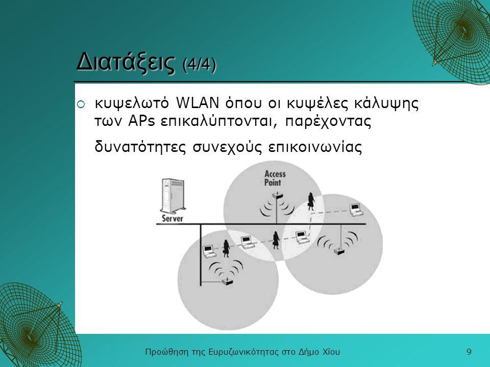Προώθηση της Ευρυζωνικότητας στο Δήμο Χίου9 Διατάξεις (4/4)  κυψελωτό WLAN όπου οι κυψέλες κάλυψης των APs επικαλύπτονται, παρέχοντας δυνατότητες συν