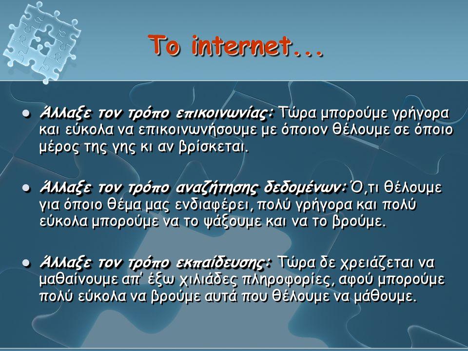 Το internet...  Άλλαξε τον τρόπο επικοινωνίας:  Άλλαξε τον τρόπο επικοινωνίας: Τώρα μπορούμε γρήγορα και εύκολα να επικοινωνήσουμε με όποιον θέλουμε