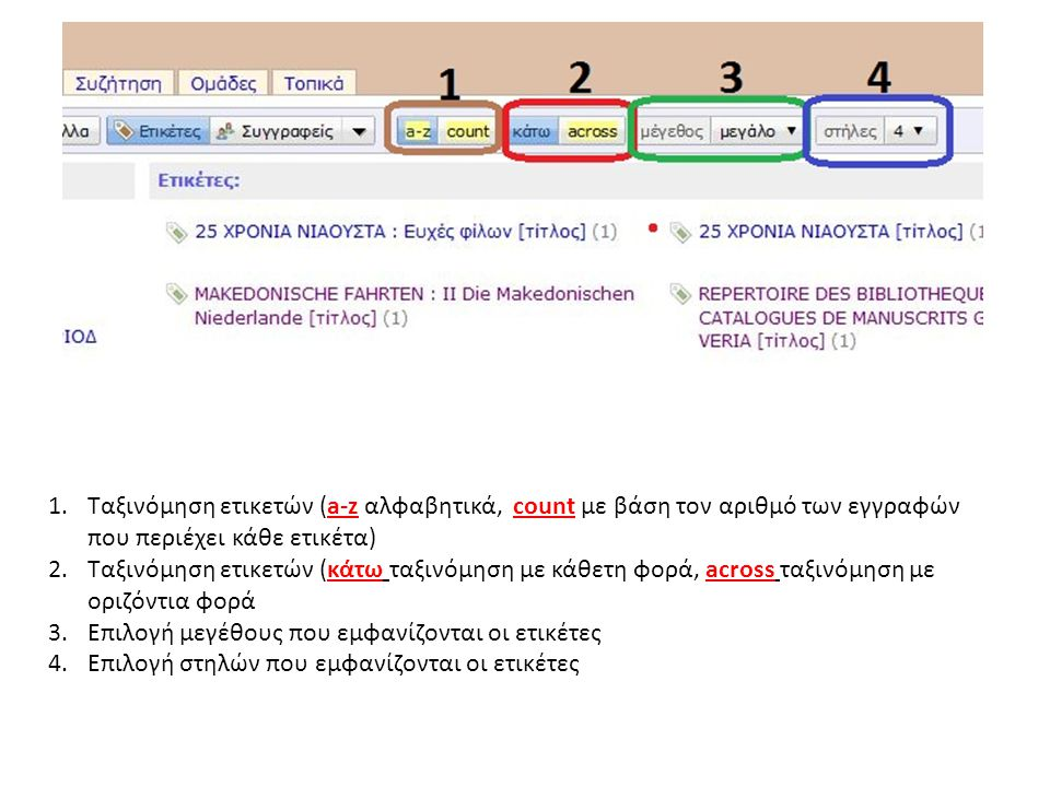 1.Ταξινόμηση ετικετών (a-z αλφαβητικά, count με βάση τον αριθμό των εγγραφών που περιέχει κάθε ετικέτα) 2.Ταξινόμηση ετικετών (κάτω ταξινόμηση με κάθετη φορά, across ταξινόμηση με οριζόντια φορά 3.Επιλογή μεγέθους που εμφανίζονται οι ετικέτες 4.Επιλογή στηλών που εμφανίζονται οι ετικέτες
