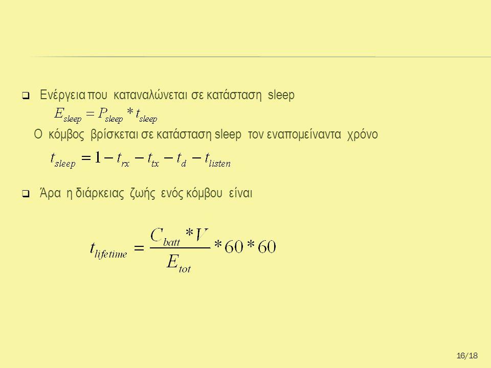  Ενέργεια που καταναλώνεται σε κατάσταση sleep Ο κόμβος βρίσκεται σε κατάσταση sleep τον εναπομείναντα χρόνο  Άρα η διάρκειας ζωής ενός κόμβου είναι 16/18