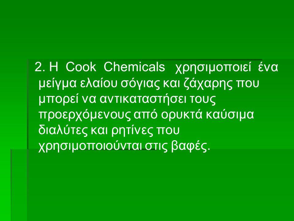 2. Η Cook Chemicals χρησιμοποιεί ένα μείγμα ελαίου σόγιας και ζάχαρης που μπορεί να αντικαταστήσει τους προερχόμενους από ορυκτά καύσιμα διαλύτες και