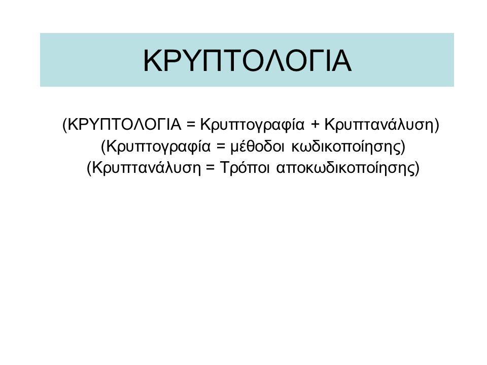 (ΚΡΥΠΤΟΛΟΓΙΑ = Κρυπτογραφία + Κρυπτανάλυση) (Κρυπτογραφία = μέθοδοι κωδικοποίησης) (Κρυπτανάλυση = Τρόποι αποκωδικοποίησης)