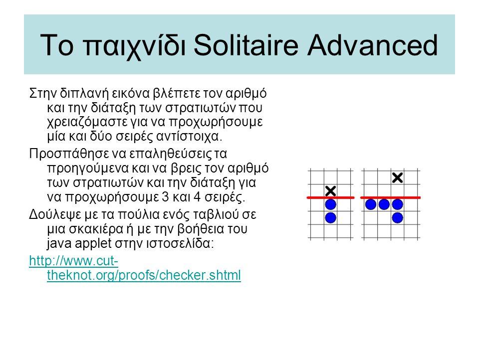 Το παιχνίδι Solitaire Advanced Στην διπλανή εικόνα βλέπετε τον αριθμό και την διάταξη των στρατιωτών που χρειαζόμαστε για να προχωρήσουμε μία και δύο