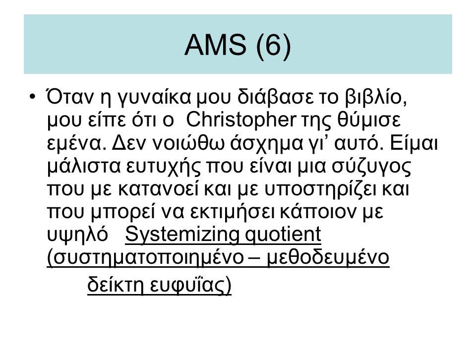 AMS (6) •Όταν η γυναίκα μου διάβασε το βιβλίο, μου είπε ότι ο Christopher της θύμισε εμένα. Δεν νοιώθω άσχημα γι' αυτό. Είμαι μάλιστα ευτυχής που είνα