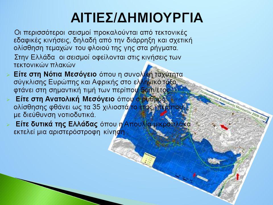 Οι περισσότεροι σεισμοί προκαλούνται από τεκτονικές εδαφικές κινήσεις, δηλαδή από την διάρρηξη και σχετική ολίσθηση τεμαχών του φλοιού της γης στα ρήγ