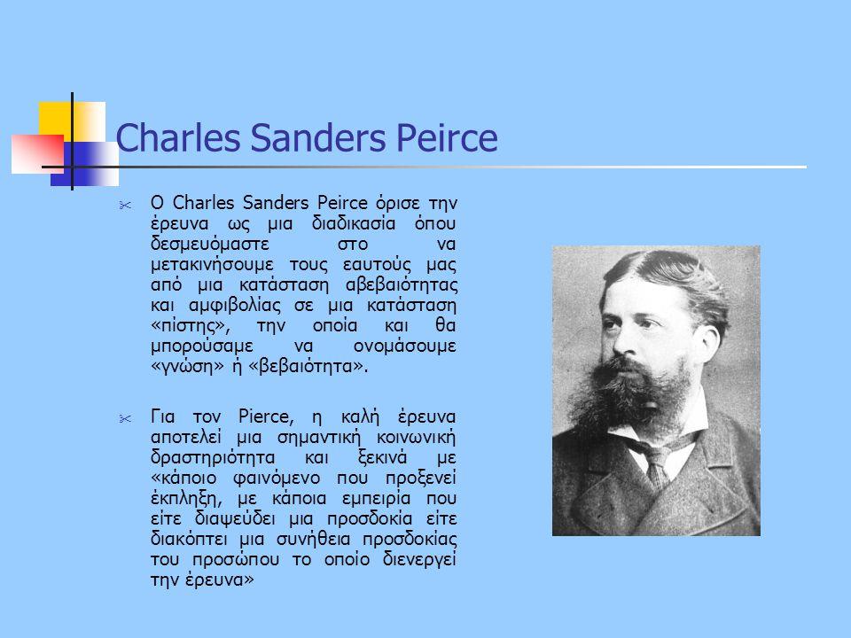 Charles Sanders Peirce  Ο Charles Sanders Peirce όρισε την έρευνα ως μια διαδικασία όπου δεσμευόμαστε στο να μετακινήσουμε τους εαυτούς μας από μια κ