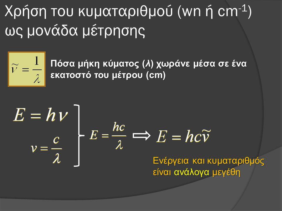 Χρήση του κυματαριθμού (wn ή cm -1 ) ως μονάδα μέτρησης Πόσα μήκη κύματος (λ) χωράνε μέσα σε ένα εκατοστό του μέτρου (cm) Ενέργεια και κυματαριθμός είναι ανάλογα μεγέθη