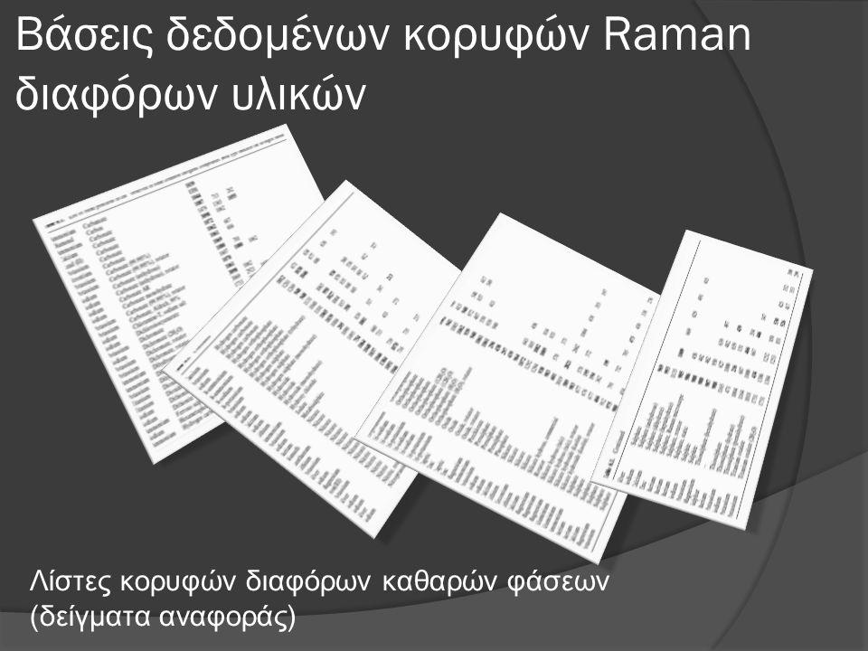 Βάσεις δεδομένων κορυφών Raman διαφόρων υλικών Λίστες κορυφών διαφόρων καθαρών φάσεων (δείγματα αναφοράς)
