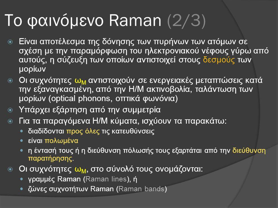 Το φαινόμενο Raman (2/3)  Είναι αποτέλεσμα της δόνησης των πυρήνων των ατόμων σε σχέση με την παραμόρφωση του ηλεκτρονιακού νέφους γύρω από αυτούς, η σύζευξη των οποίων αντιστοιχεί στους δεσμούς των μορίων  Οι συχνότητες ω Μ αντιστοιχούν σε ενεργειακές μεταπτώσεις κατά την εξαναγκασμένη, από την Η/Μ ακτινοβολία, ταλάντωση των μορίων (optical phonons, οπτικά φωνόνια)  Υπάρχει εξάρτηση από την συμμετρία  Για τα παραγόμενα Η/Μ κύματα, ισχύουν τα παρακάτω:  διαδίδονται προς όλες τις κατευθύνσεις  είναι πολωμένα  η έντασή τους ή η διεύθυνση πόλωσής τους εξαρτάται από την διεύθυνση παρατήρησης.