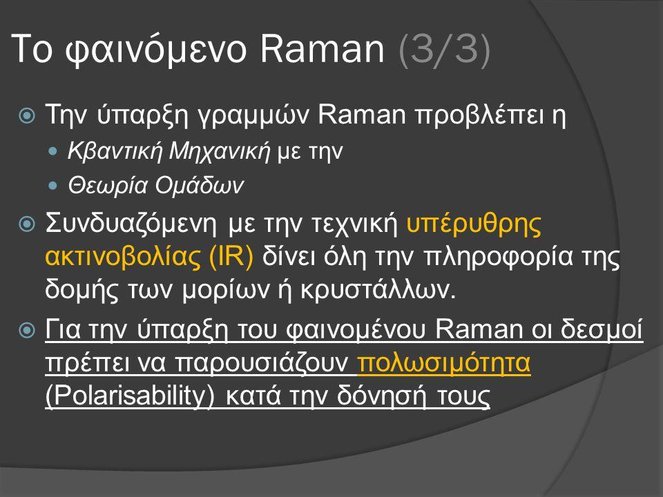 Το φαινόμενο Raman (3/3)  Την ύπαρξη γραμμών Raman προβλέπει η  Κβαντική Μηχανική με την  Θεωρία Ομάδων  Συνδυαζόμενη με την τεχνική υπέρυθρης ακτινοβολίας (IR) δίνει όλη την πληροφορία της δομής των μορίων ή κρυστάλλων.