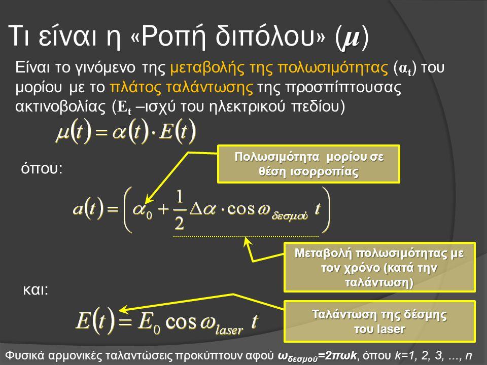 μ Τι είναι η «Ροπή διπόλου» ( μ ) α t Ε t Είναι το γινόμενο της μεταβολής της πολωσιμότητας ( α t ) του μορίου με το πλάτος ταλάντωσης της προσπίπτουσας ακτινοβολίας ( Ε t –ισχύ του ηλεκτρικού πεδίου) όπου: και: Πολωσιμότητα μορίου σε θέση ισορροπίας Μεταβολή πολωσιμότητας με τον χρόνο (κατά την ταλάντωση) Ταλάντωση της δέσμης του laser ω δεσμού =2πωk Φυσικά αρμονικές ταλαντώσεις προκύπτουν αφού ω δεσμού =2πωk, όπου k=1, 2, 3,..., n