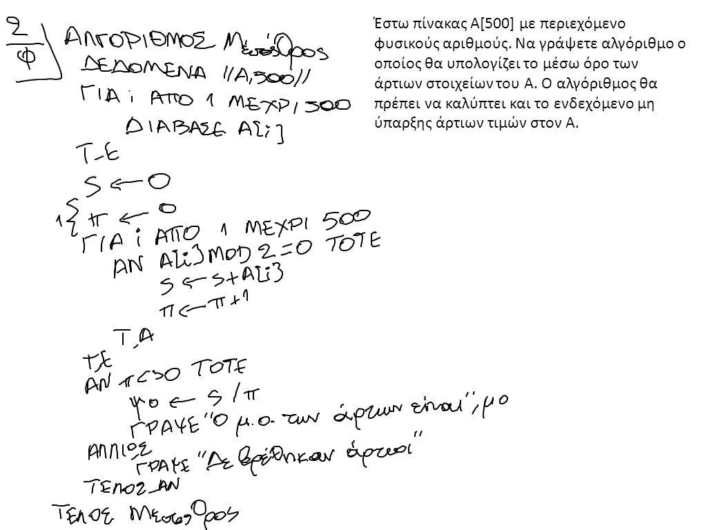 Έστω πίνακας Α[500] με περιεχόμενο φυσικούς αριθμούς. Να γράψετε αλγόριθμο ο οποίος θα υπολογίζει το μέσω όρο των άρτιων στοιχείων του Α. Ο αλγόριθμος
