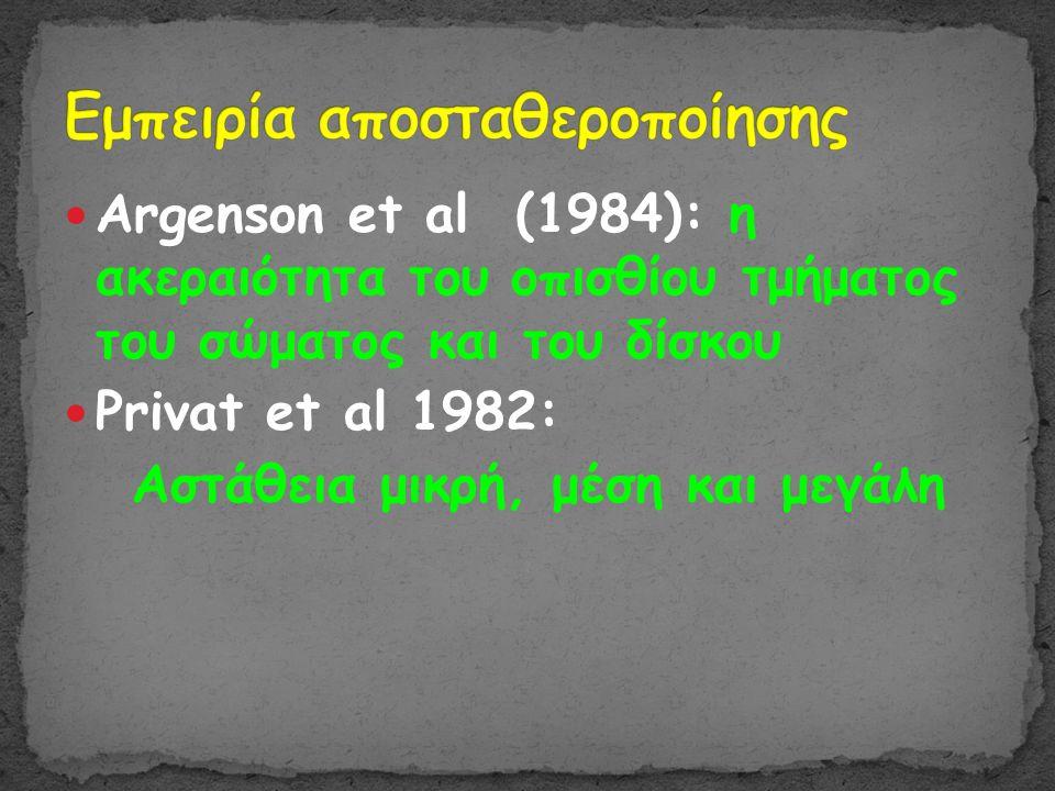  Argenson et al (1984): η ακεραιότητα του οπισθίου τμήματος του σώματος και του δίσκου  Privat et al 1982: Αστάθεια μικρή, μέση και μεγάλη