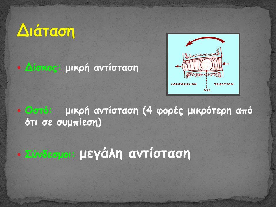  Δίσκος: μικρή αντίσταση  Οστό: μικρή αντίσταση (4 φορές μικρότερη από ότι σε συμπίεση)  Σύνδεσμοι: μεγάλη αντίσταση
