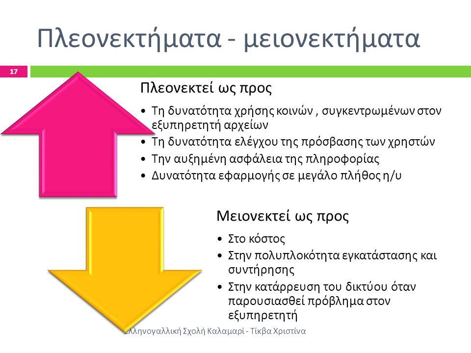 Πλεονεκτήματα - μειονεκτήματα Ελληνογαλλική Σχολή Καλαμαρί - Τίκβα Χριστίνα 17 Πλεονεκτεί ως π ρος • Τη δυνατότητα χρήσης κοινών, συγκεντρωμένων στον