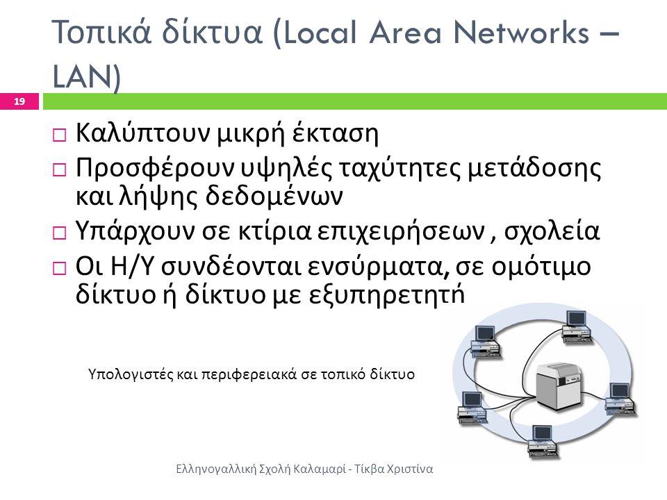 Τοπικά δίκτυα (Local Area Networks – LAN) Ελληνογαλλική Σχολή Καλαμαρί - Τίκβα Χριστίνα 19  Καλύπτουν μικρή έκταση  Προσφέρουν υψηλές ταχύτητες μετά