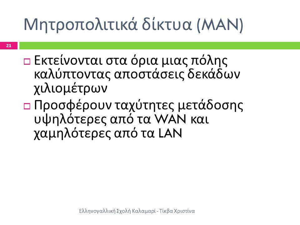 Μητροπολιτικά δίκτυα (MAN) Ελληνογαλλική Σχολή Καλαμαρί - Τίκβα Χριστίνα 21  Εκτείνονται στα όρια μιας πόλης καλύπτοντας αποστάσεις δεκάδων χιλιομέτρ