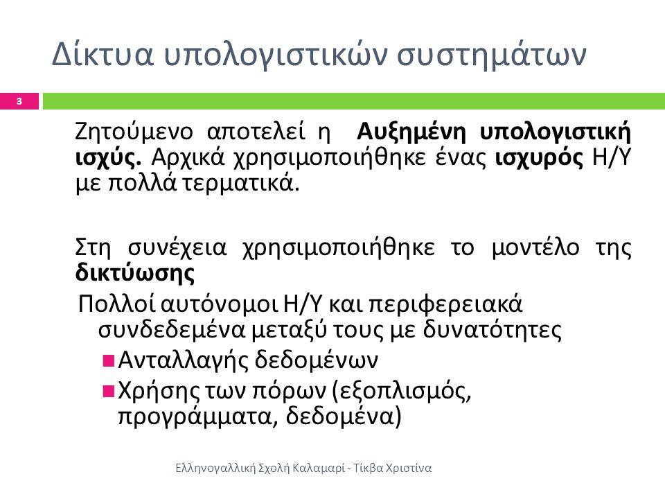 Πλεονεκτήματα – Οφέλη δικτύωσης Ελληνογαλλική Σχολή Καλαμαρί - Τίκβα Χριστίνα 4  Δυνατότητα επικοινωνίας των μελών μιας ομάδας  Πληρέστερη πληροφόρηση ( από απομακρυσμένα σημεία και βάσεις δεδομένων )  Αξιοπιστία στη συνολική λειτουργία του συστήματος ( σε περίπτωση βλάβης ενός Η / Υ το σύστημα εξυπηρετείται από άλλον Η / Υ )  Ευκολότερη δυνατότητα επέκτασης του υπολογιστικού συστήματος