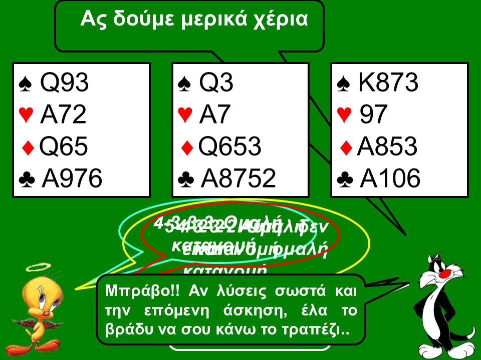 Ας δούμε μερικά χέρια ♠ Q93 ♥ A72  Q65 ♣ A976 4-3-3-3 Ομαλή κατανομή ♠ Q3 ♥ A7  Q653 ♣ A8752 Σωστά 5-4-2-2 Αυτή δεν είναι ομαλή κατανομή Πάρα πολύ σ