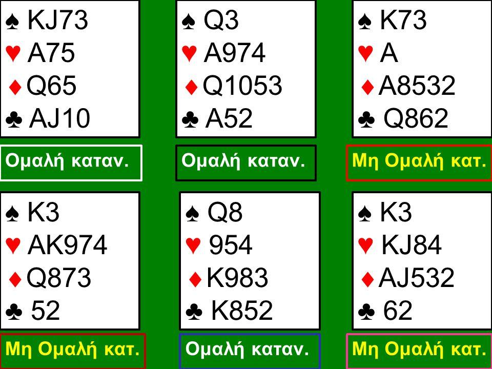 ♠ KJ73 ♥ A75  Q65 ♣ AJ10 ♠ Q3 ♥ A974  Q1053 ♣ A52 ♠ Κ73 ♥ A  Α8532 ♣ Q862 Ομαλή καταν. Μη Ομαλή κατ. ♠ Κ3 ♥ AΚ974  Q873 ♣ 52 Μη Ομαλή κατ. ♠ Q8 ♥