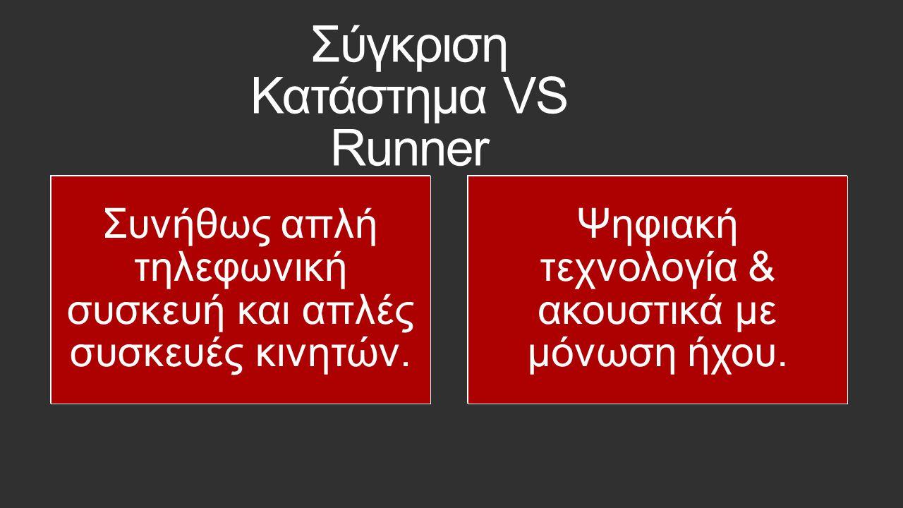 Σύγκριση Κατάστημα VS Runner 1 με 2 γραμμές απάντησης. 12 ταυτόχρονες παραγγελίες 1 γραμμή αναμονής. 10.000 αναμονές σε αυτόματη ουρά με μουσική. Θόρυ