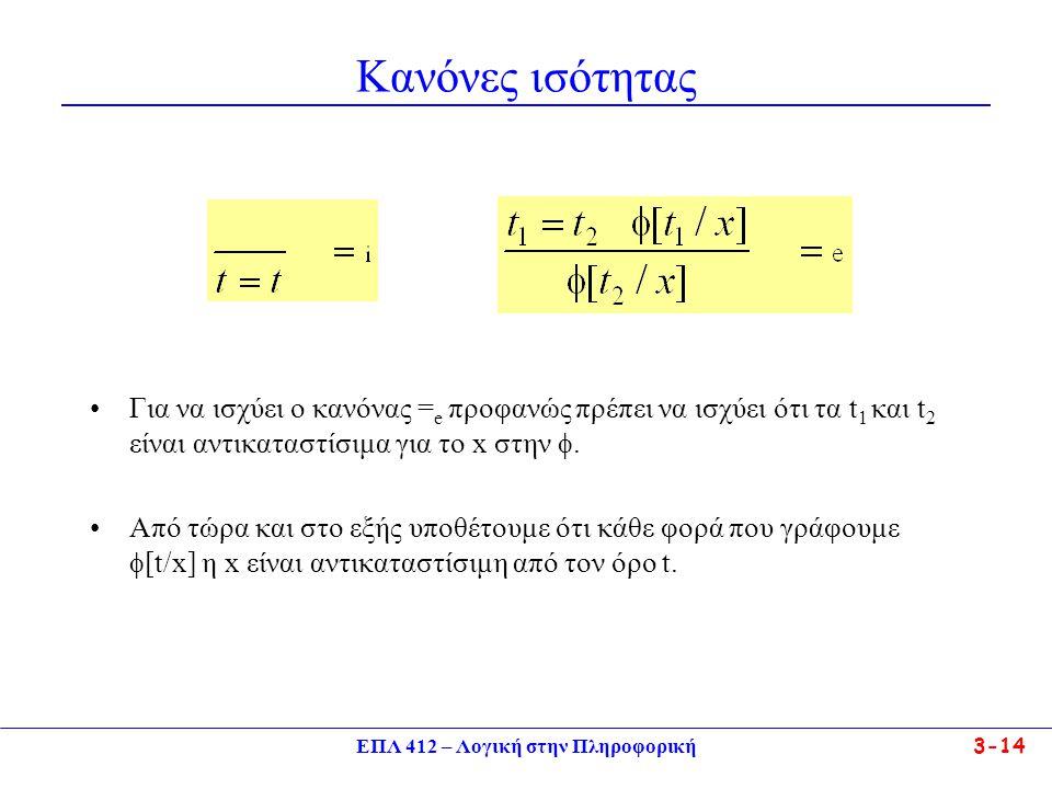 ΕΠΛ 412 – Λογική στην Πληροφορική 3-14 Κανόνες ισότητας •Για να ισχύει ο κανόνας = e προφανώς πρέπει να ισχύει ότι τα t 1 και t 2 είναι αντικαταστίσιμα για το x στην .