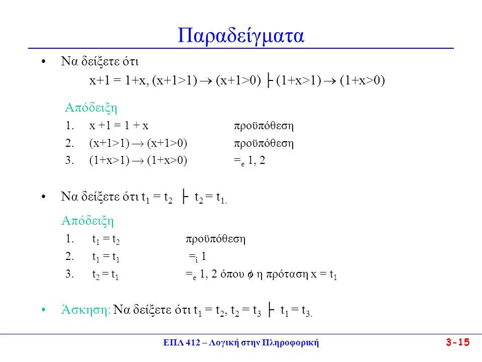 ΕΠΛ 412 – Λογική στην Πληροφορική 3-15 Παραδείγματα •Να δείξετε ότι x+1 = 1+x, (x+1>1)  (x+1>0) ├ (1+x>1)  (1+x>0) Απόδειξη 1.x +1 = 1 + xπροϋπόθεση 2.