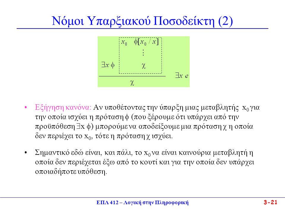 ΕΠΛ 412 – Λογική στην Πληροφορική 3-21 Νόμοι Υπαρξιακού Ποσοδείκτη (2) •Εξήγηση κανόνα: Αν υποθέτοντας την ύπαρξη μιας μεταβλητής x 0 για την οποία ισχύει η πρόταση  (που ξέρουμε ότι υπάρχει από την προϋπόθεση  x  ) μπορούμε να αποδείξουμε μια πρόταση χ η οποία δεν περιέχει το x 0, τότε η πρόταση χ ισχύει.