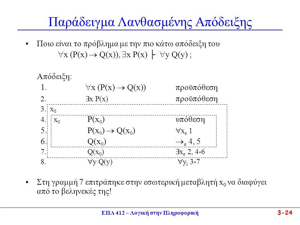 ΕΠΛ 412 – Λογική στην Πληροφορική 3-24 Παράδειγμα Λανθασμένης Απόδειξης •Ποιο είναι το πρόβλημα με την πιο κάτω απόδειξη του  x (P(x)  Q(x)),  x P(x) ├  y Q(y) ; Απόδειξη: 1.