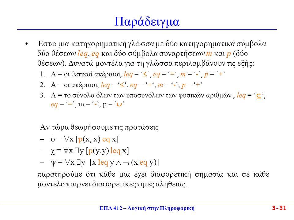 ΕΠΛ 412 – Λογική στην Πληροφορική 3-31 Παράδειγμα •Έστω μια κατηγορηματική γλώσσα με δύο κατηγορηματικά σύμβολα δύο θέσεων leq, eq και δύο σύμβολα συναρτήσεων m και p (δύο θέσεων).