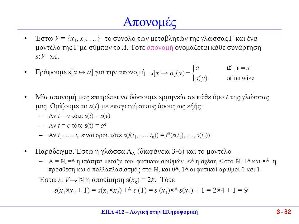 ΕΠΛ 412 – Λογική στην Πληροφορική 3-32 Απονομές