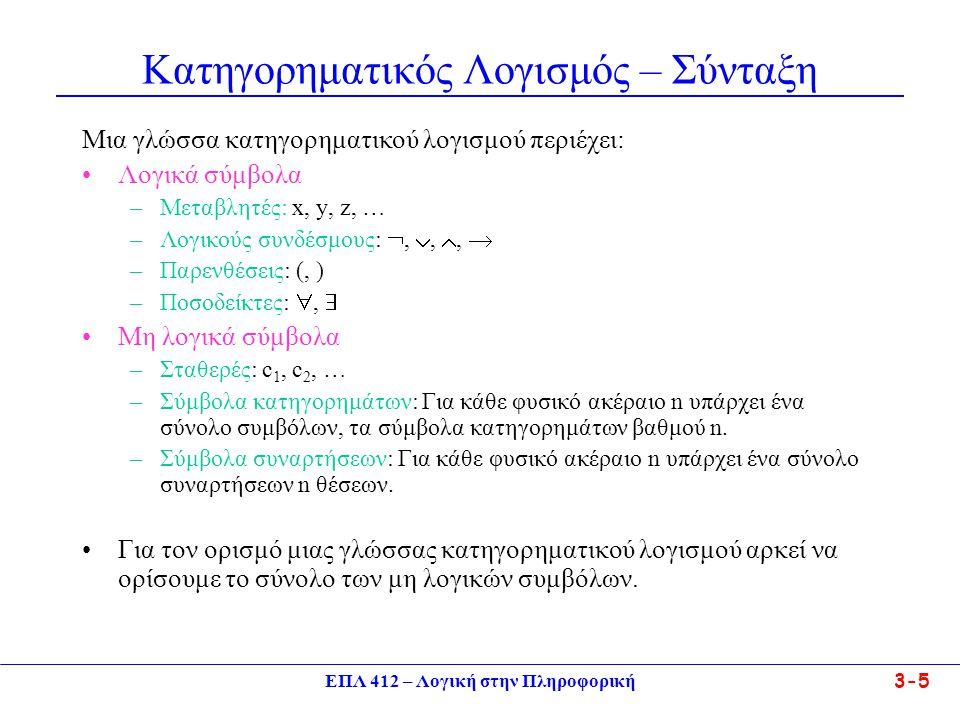 ΕΠΛ 412 – Λογική στην Πληροφορική 3-5 Κατηγορηματικός Λογισμός – Σύνταξη Μια γλώσσα κατηγορηματικού λογισμού περιέχει: •Λογικά σύμβολα –Μεταβλητές: x, y, z, … –Λογικούς συνδέσμους: , , ,  –Παρενθέσεις: (, ) –Ποσοδείκτες: ,  •Μη λογικά σύμβολα –Σταθερές: c 1, c 2, … –Σύμβολα κατηγορημάτων: Για κάθε φυσικό ακέραιο n υπάρχει ένα σύνολο συμβόλων, τα σύμβολα κατηγορημάτων βαθμού n.